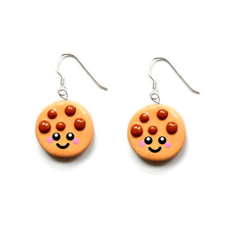 Cute Cookie Hook Earrings - Happy