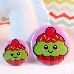Cute Cupcake Pin Badge - Mint Choc Chip