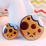 Cute Cookie Pin Badge - Sad