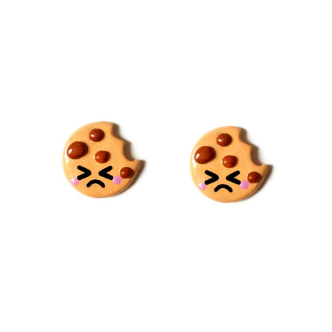 Cute Cookie Stud Earrings - Sad