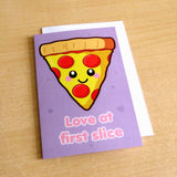 Love At First Slice Pizza Greeting Card