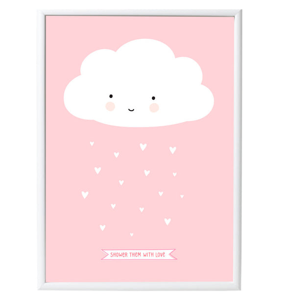 Shower Them With Love Happy Cloud Poster - 50 x 70 cm