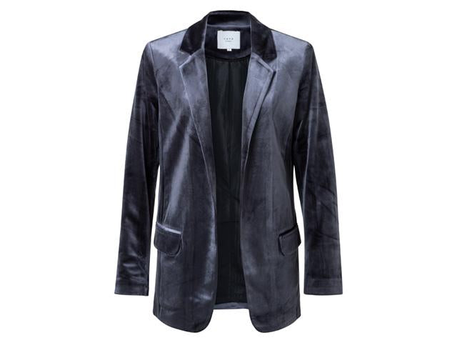 Yaya Velours Fitted Blazer Deep Dark Blue