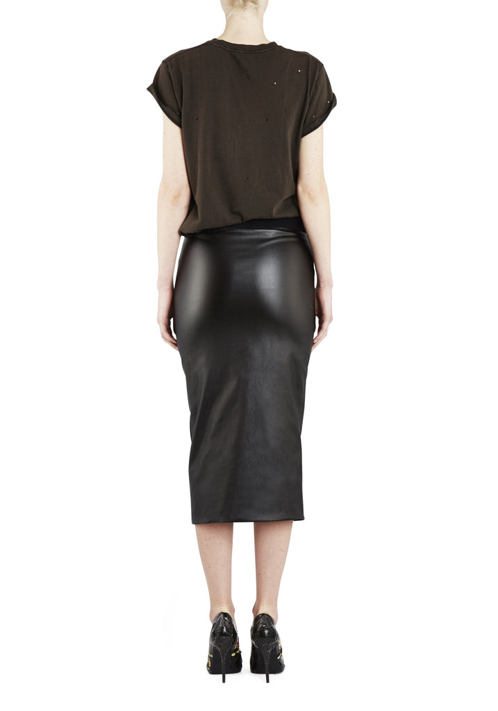 Empire Rose Vegan Leather Pencil Skirt Black