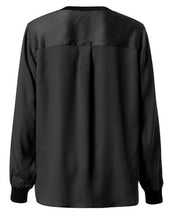 Yaya / V Neck Long Sleeve Top Rib Cuff / Black