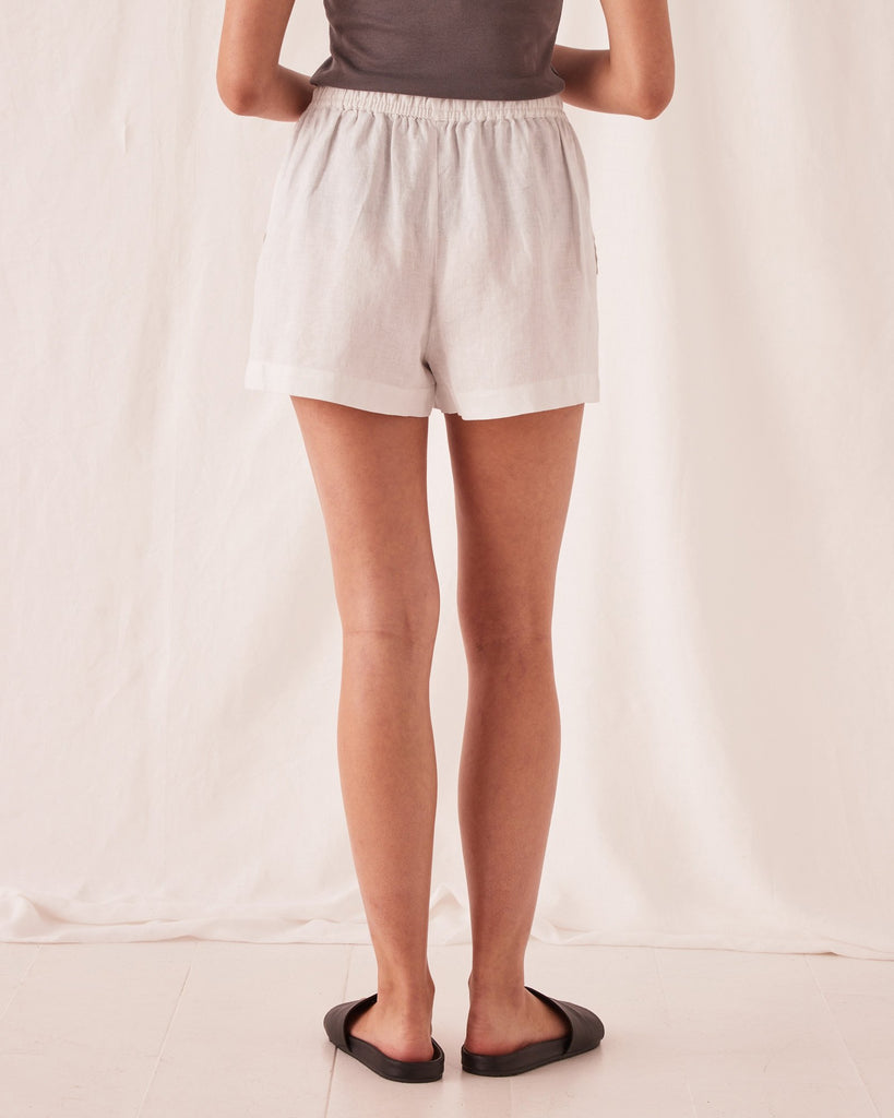 Assembly Label Anika Linen Short Silver Grey