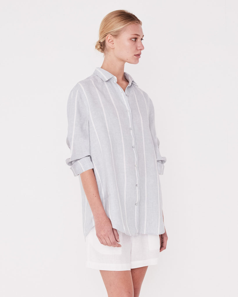Assembly Label Xander Long Sleeve Shirt Powder Blue Stripe