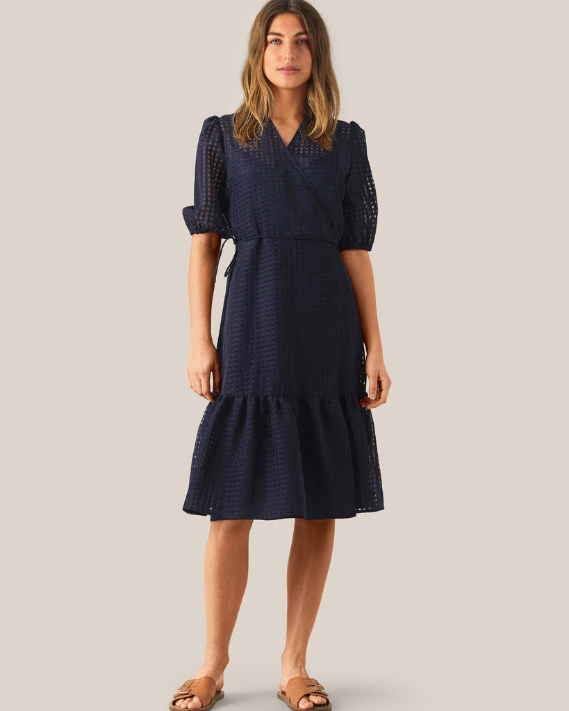 Second Female Vilda Wrap Dress Navy Check