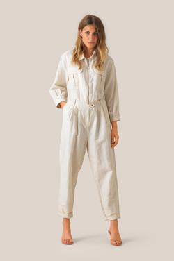 Second Female Selene Short Sleeve Jumpsuit in Eggnog