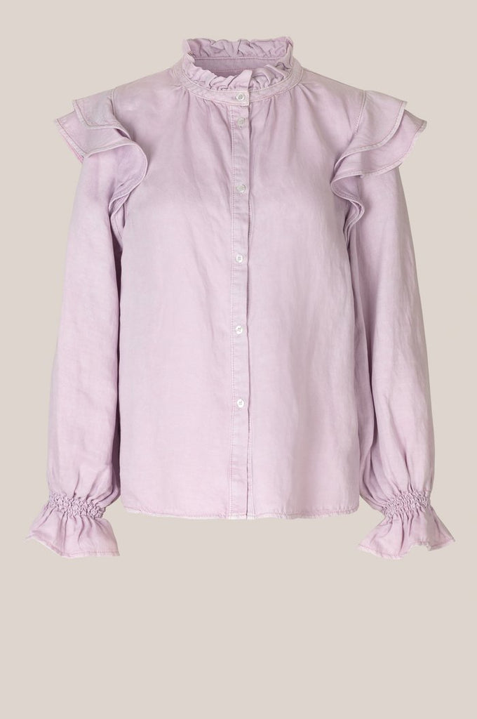 Second Female Bella Long Sleeve Ruffle Shirt Lavender Frost