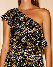 Second Female Peach One Shoulder Top Black Floral