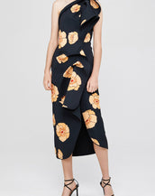 Acler Crawford Dress Large Amber Poppy