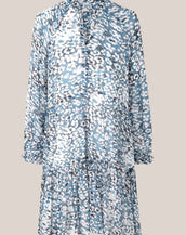 Second Female Clouds Long Sleeve Midi Dress Faded Denim