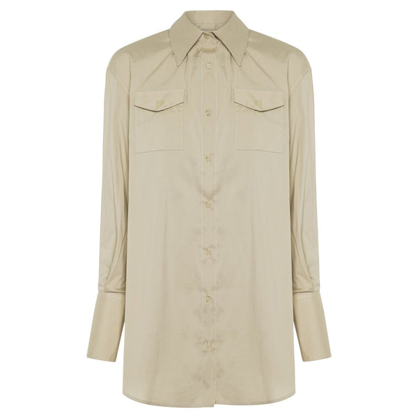 Anna Quan Ralph Shirt Tan with Topstitch