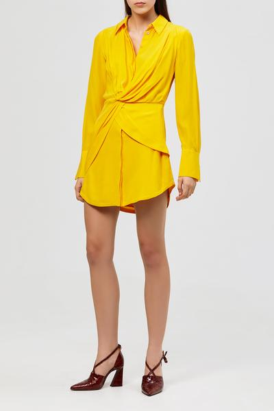 Acler Alma Silk Shirt Dress Marigold
