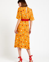 ottod'Ame Polka Dots Midi Dress Mandarino Multi