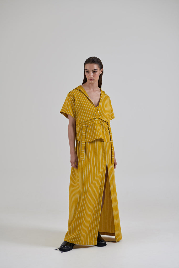 Garth Cook Submerged Waist Shirt Mustard Stripe