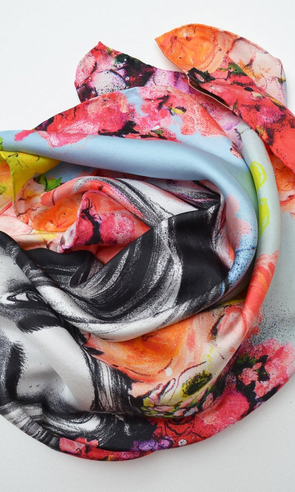 Pippa McManus Hothouse Flowers Silk Scarf