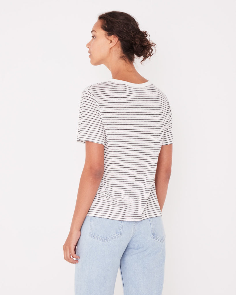Assembly Label Linen Tee Vintage Navy Stripe