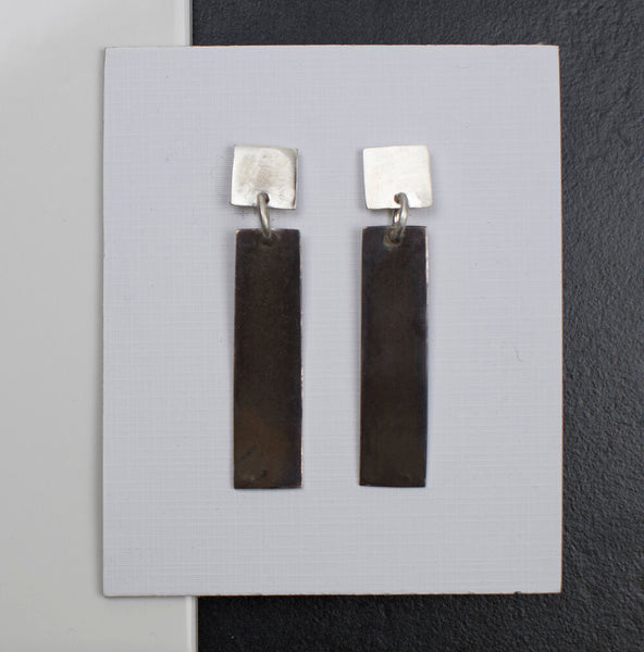 R Luck Designs Drop Earrings Silver Black