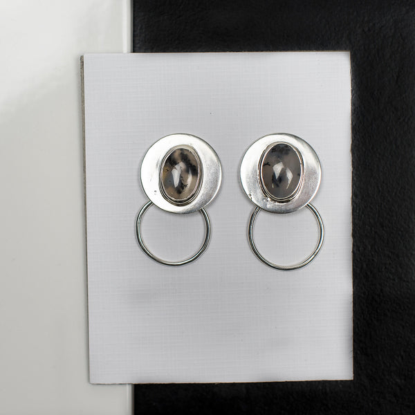 R Luck Design Round Stud Earrings Silver Moss Agate