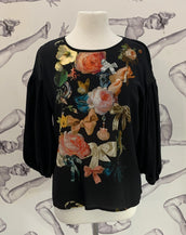 Romance Was Born Marie Keepsake Top Black/Multi