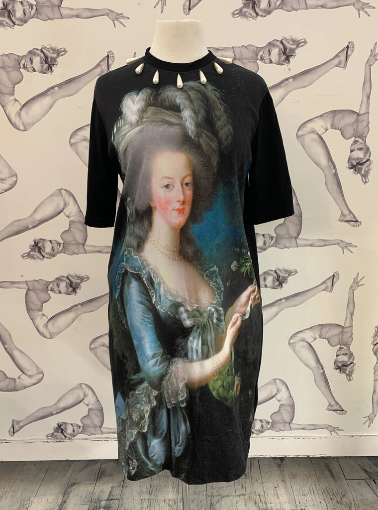 Romance Was Born Marie Antoinette Tee Dress Black/Multi
