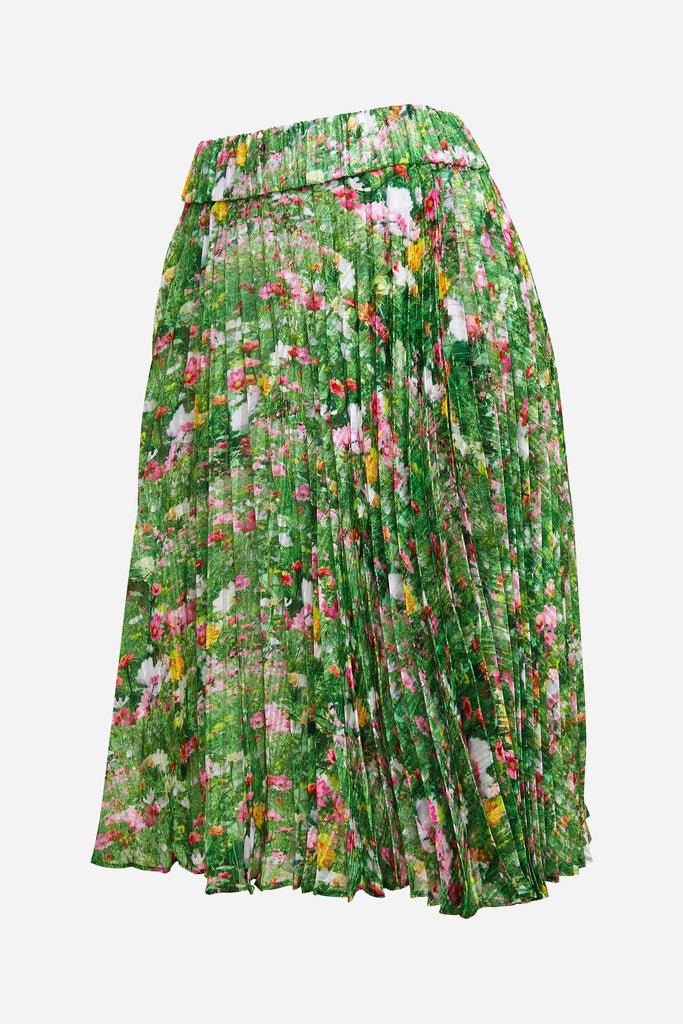 Romance Was Born Lacy Gardens Pleat Skirt in Green Multi