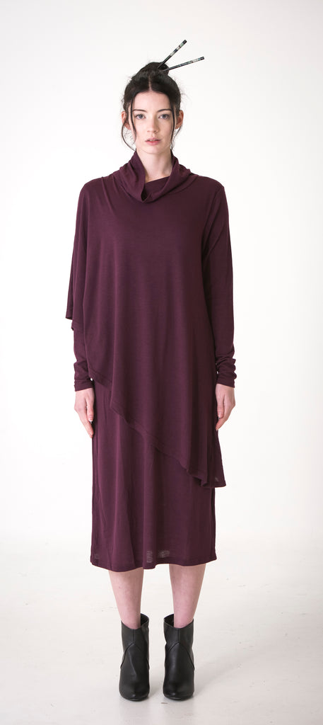 Hoodedwept Mara Poncho Dress Merlot