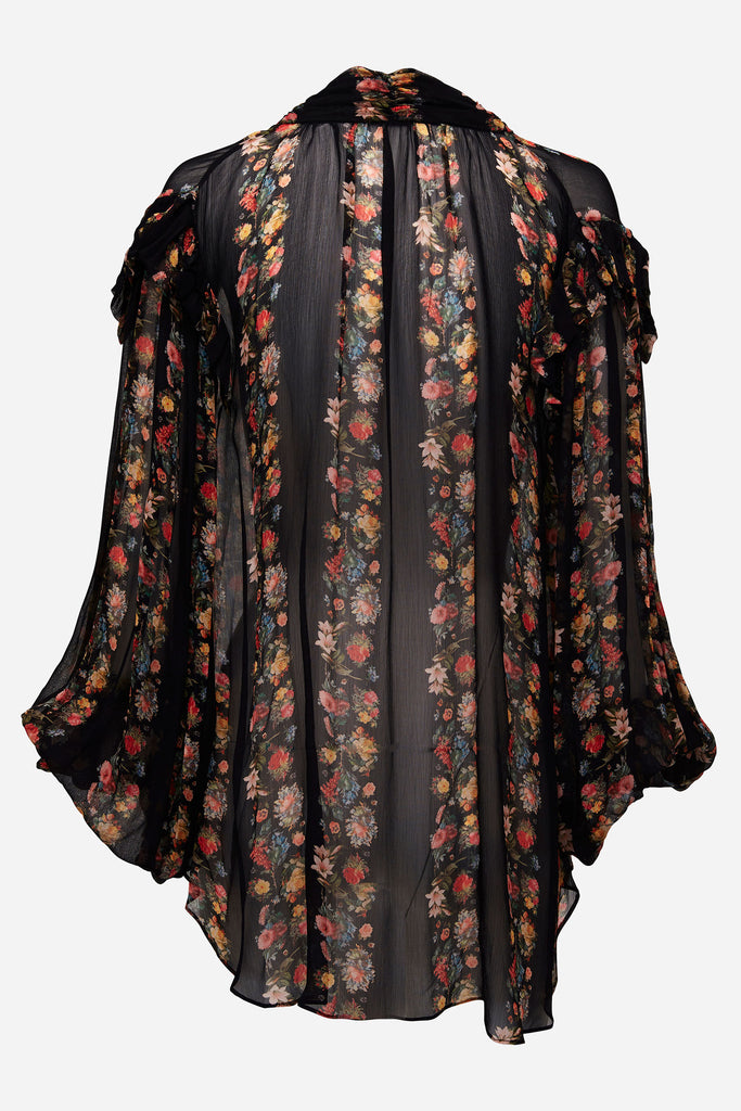 Romance Was Born Secret Kisses Tie Blouse Black Multi