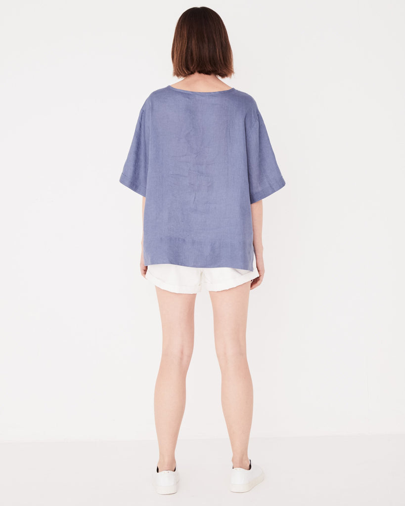Assembly Label Boxy Linen Tee Newport Blue