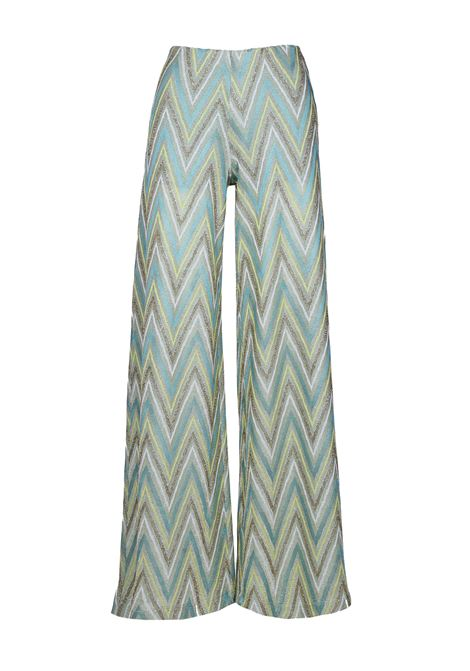 M Missoni Wide Leg Pant Green Chevron Lurex