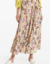 ottod'Ame Pleated Long Skirt with Snake Print Vaniglia