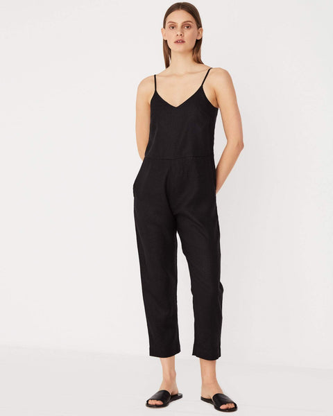 Assembly Label Linen Slip Jumpsuit Black