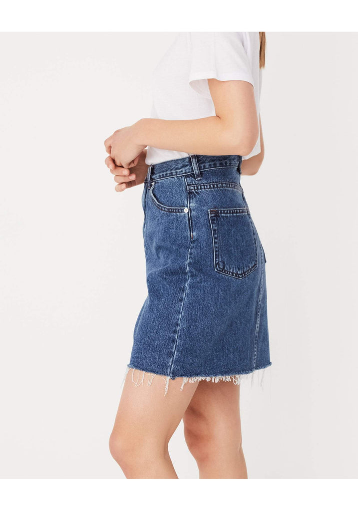 Assembly Label Rigid Fray Skirt Mid Blue