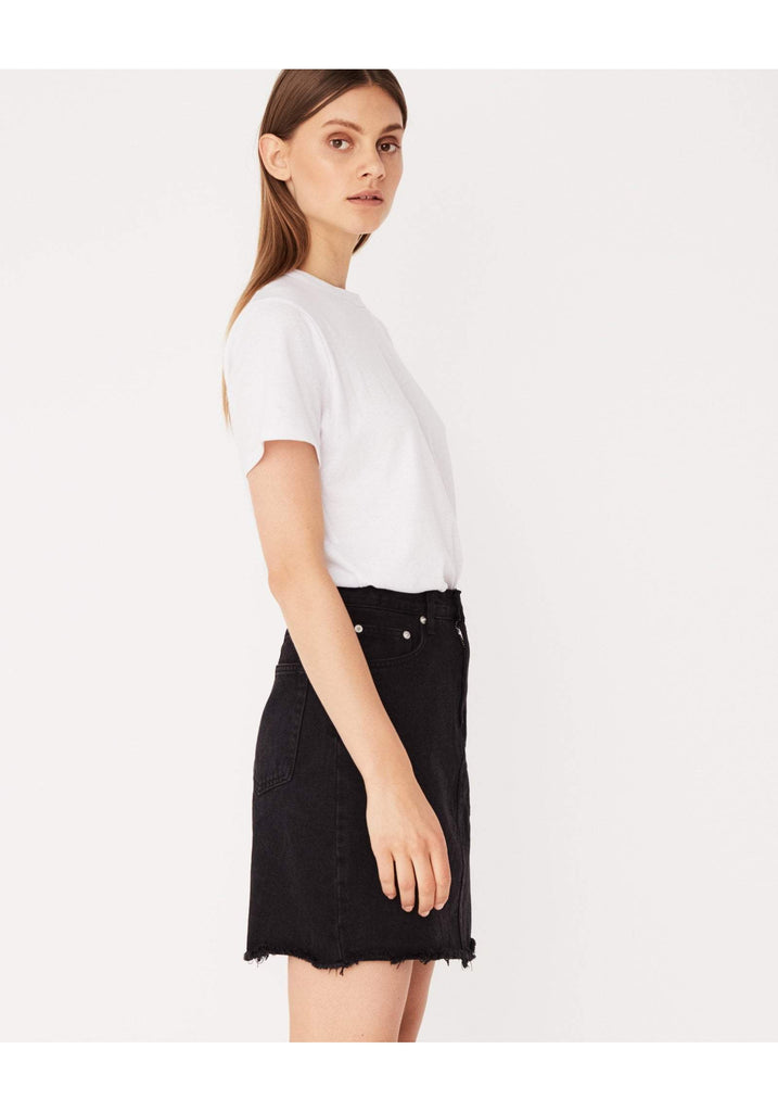 Assembly Label Rigid Fray Skirt Worn Black