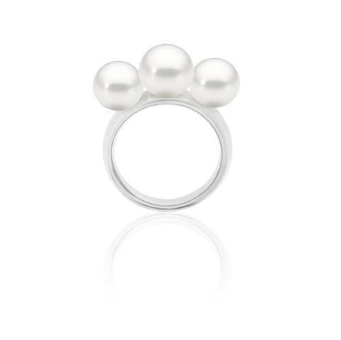 Atlas Pearls Hooked Silver 3 Pearl Ring