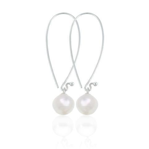Atlas Pearls Sterling Silver and Single Pearl Large Hooked Earrings