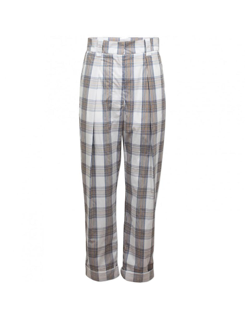 Baum und Pferdgarten Noberta Pants in Cream Navy Brown Checks