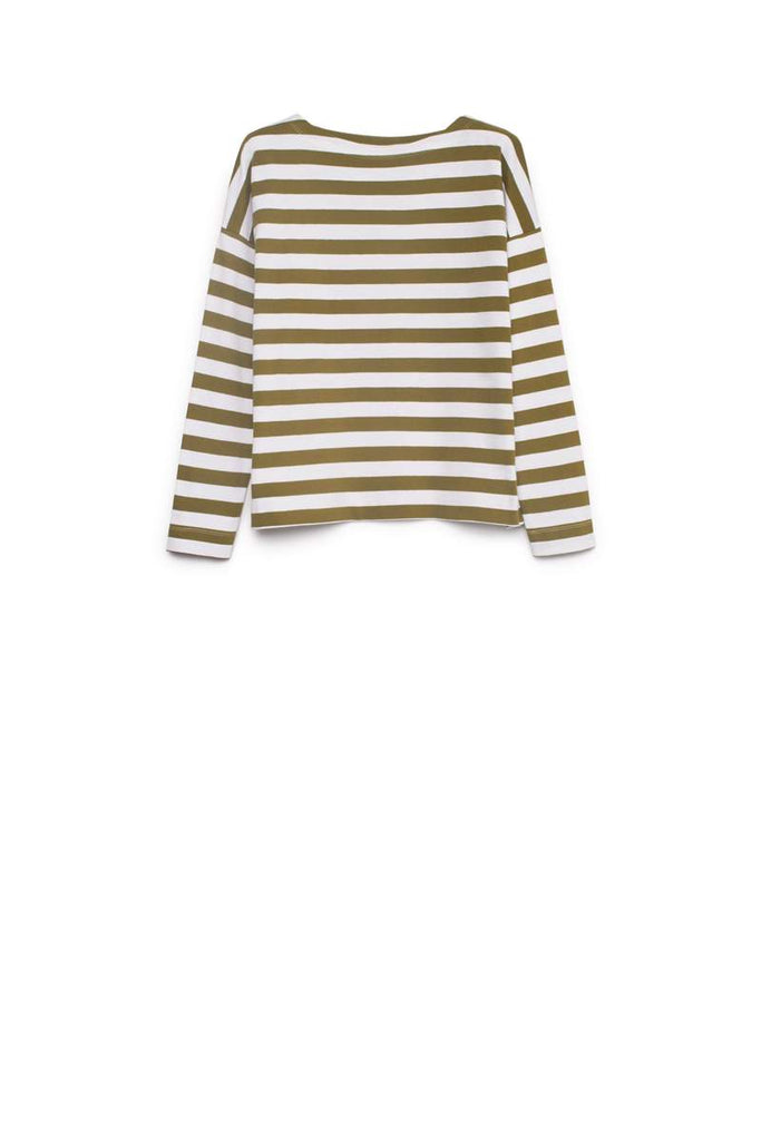 Kowtow Breton Sweater Khaki White Stripe