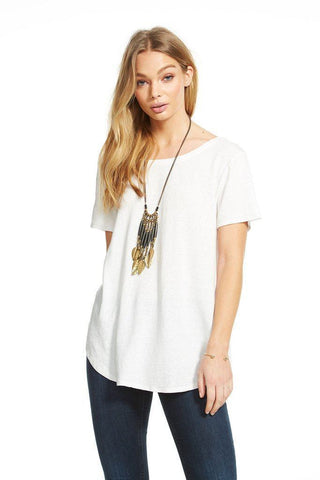 Chaser Criss Cross Back Shirttail Tee in White