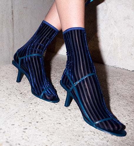 Velvet Sock's by Simone Wild Navy Ribbed