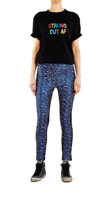Empire Rose Jacquard Skinnies Metallic Blue