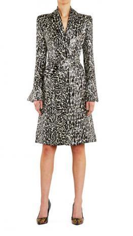 Empire Rose Leopard Lame Blazer Dress Black/Ivory