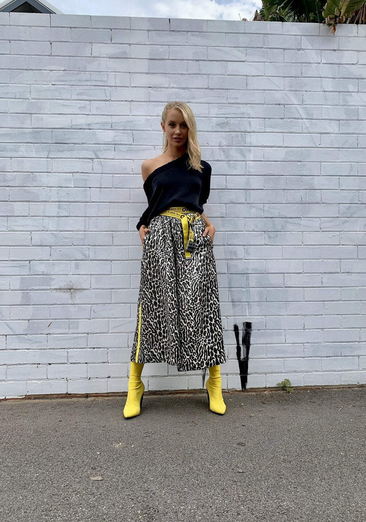 Empire Rose / Leopard Lame Culottes / Black/Ivory