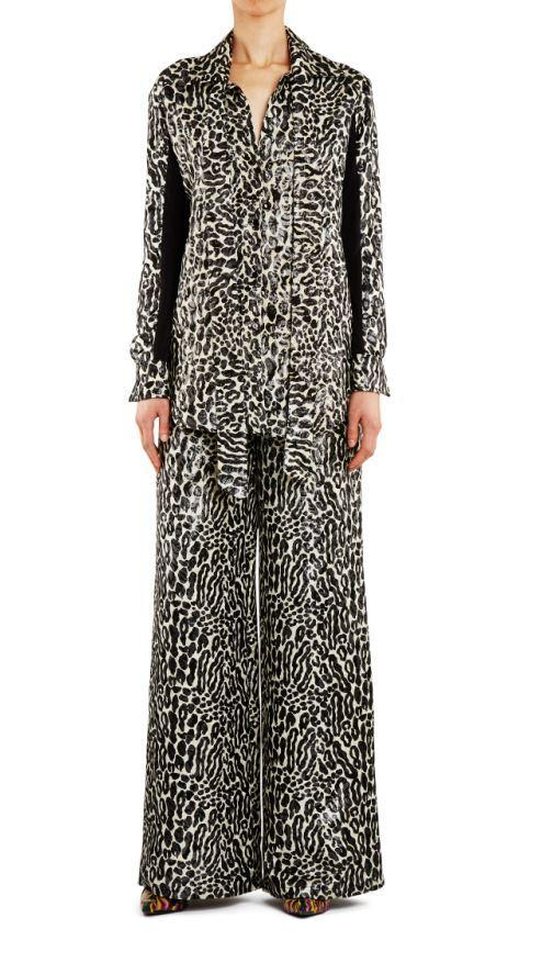 Empire Rose Leopard Lame Shirt Black/Ivory