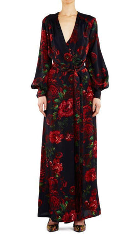 Empire Rose Salon Gown Black/Red Floral