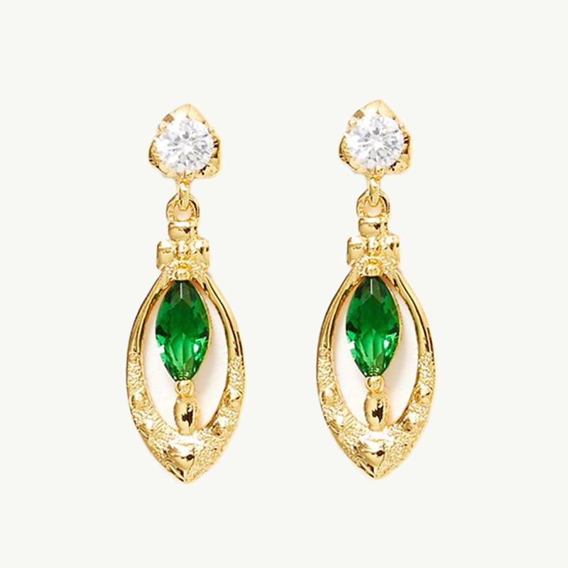 Reliquia Drop Heart Earrings Green