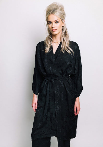 Empire Rose Black Rose Kimono One Size
