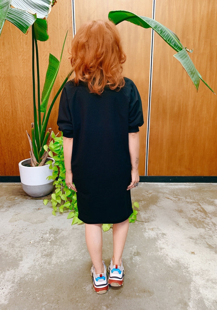 Empire Rose Olympia Short Sleeve V Neck Sweater Dress Black